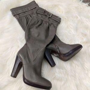 Zara gray extra calf room heeled boots
